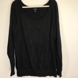 Torrid black long sleeve sweater w/ skull detail